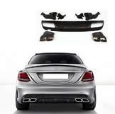 Mercedes C W205 AMG диффузор юбка с выхлопом