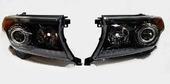 Toyota Land Cruiser 200 Brownstone рестайлинг фары (черные) ксенон + Led Дхо